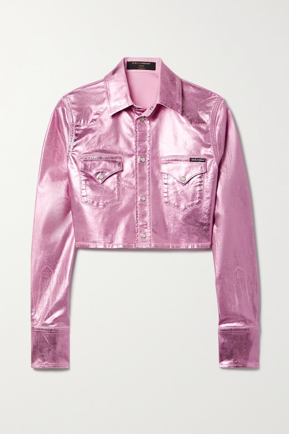 Dolce & Gabbana Pop verkürzte Jeansjacke mit Metallic-Beschichtung