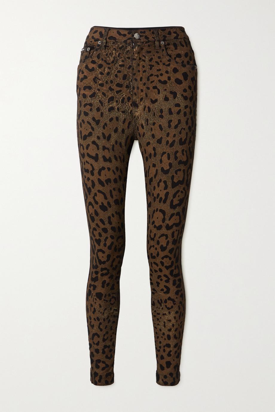 Dolce & Gabbana Jean skinny taille haute à imprimé léopard métallisé Diva