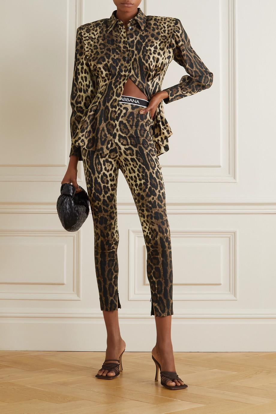 Dolce & Gabbana Legging en crêpe de soie stretch à imprimé léopard Diva