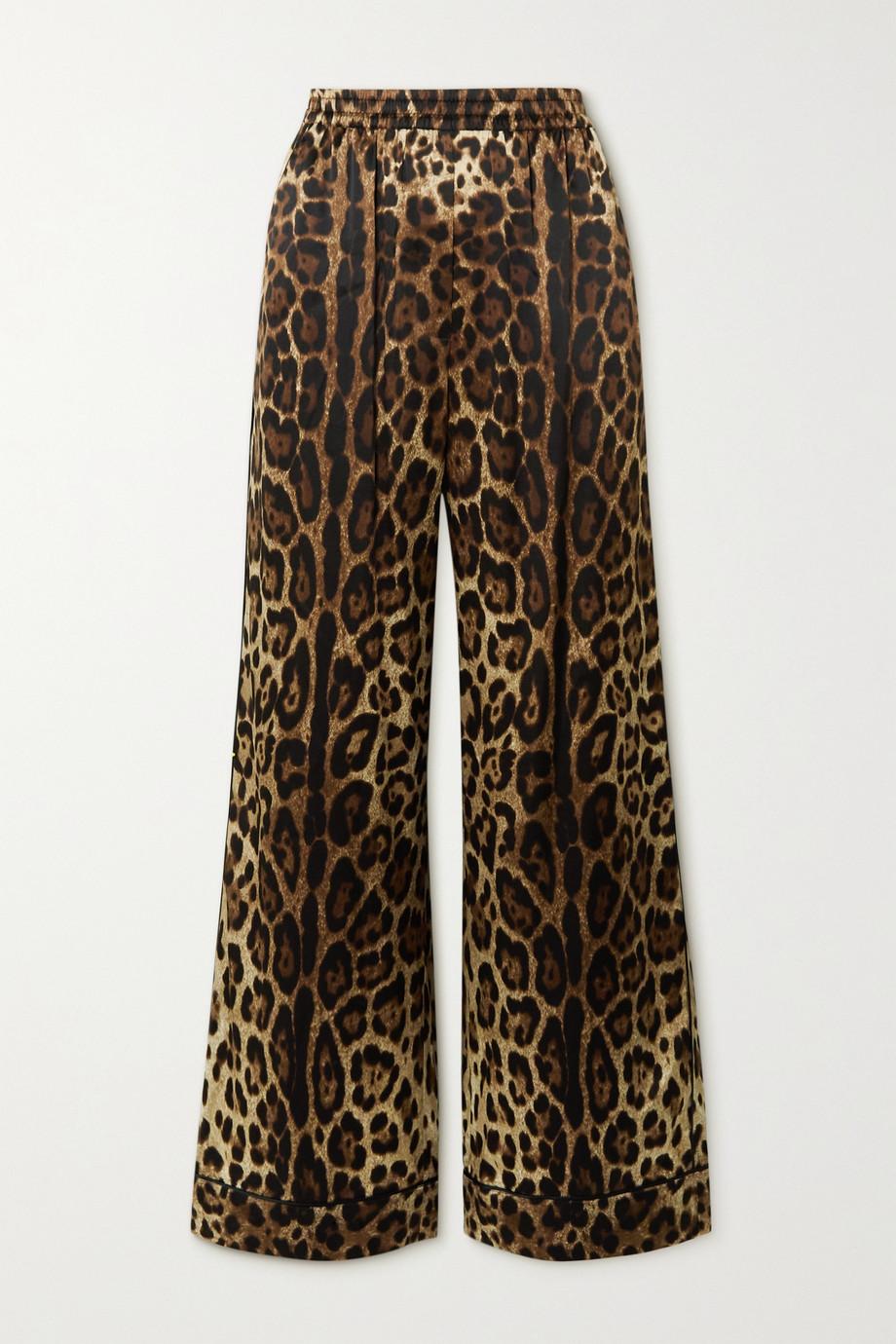Dolce & Gabbana Pantalon de pyjama en satin de soie mélangée à imprimé léopard Diva