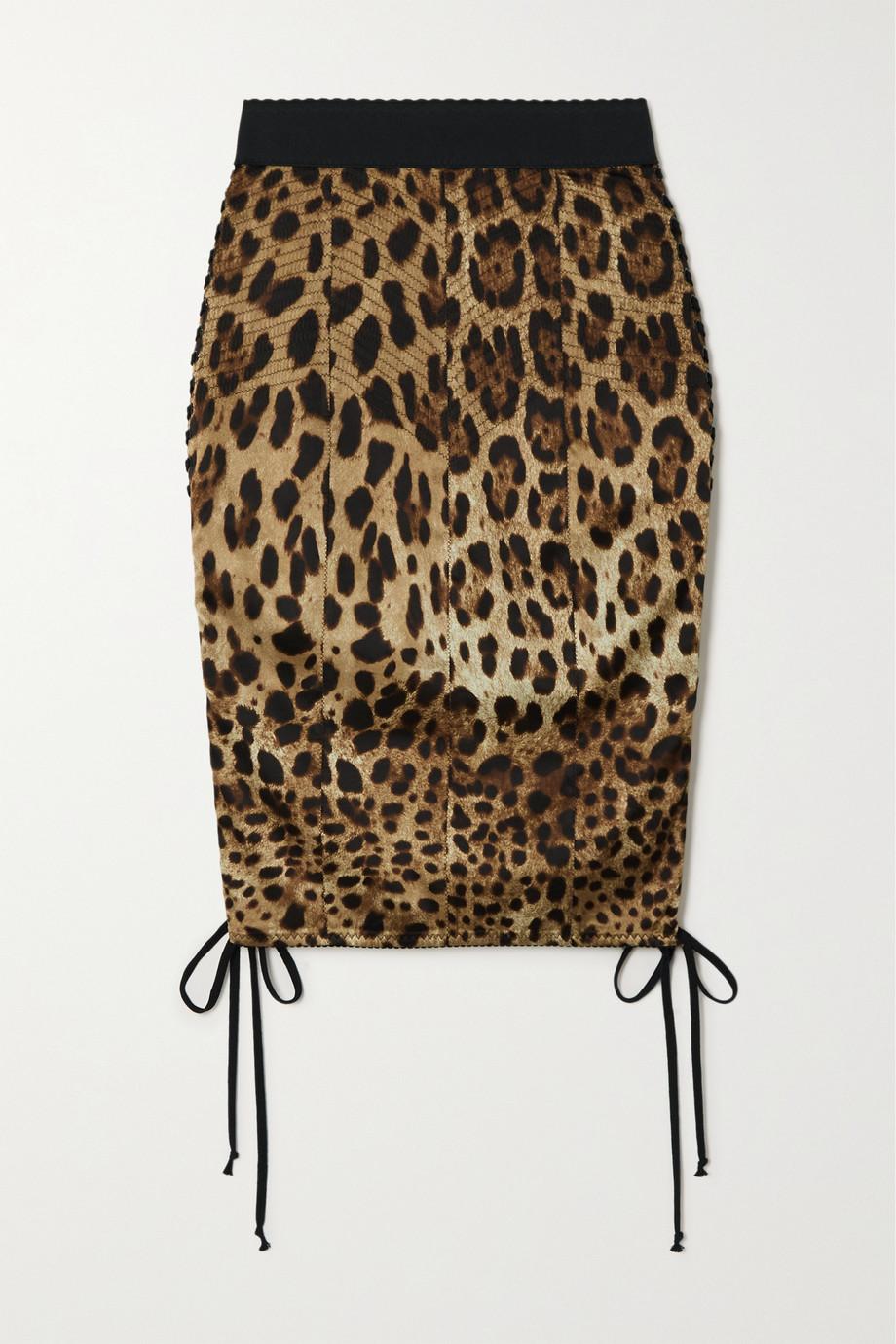 Dolce & Gabbana Jupe en satin de soie mélangée à imprimé léopard et à lacets Diva