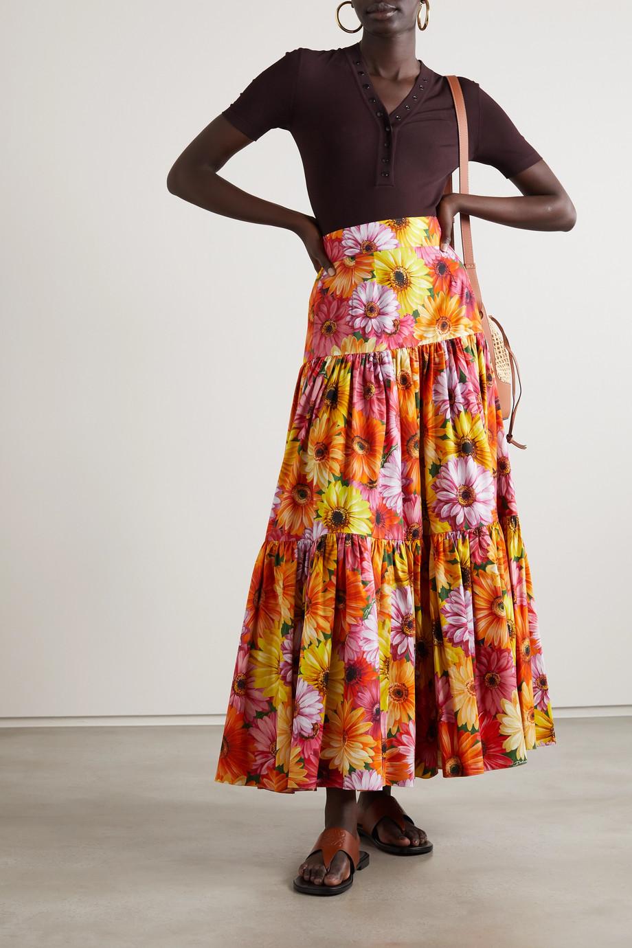 Dolce & Gabbana Pop tiered floral-print cotton-poplin midi skirt