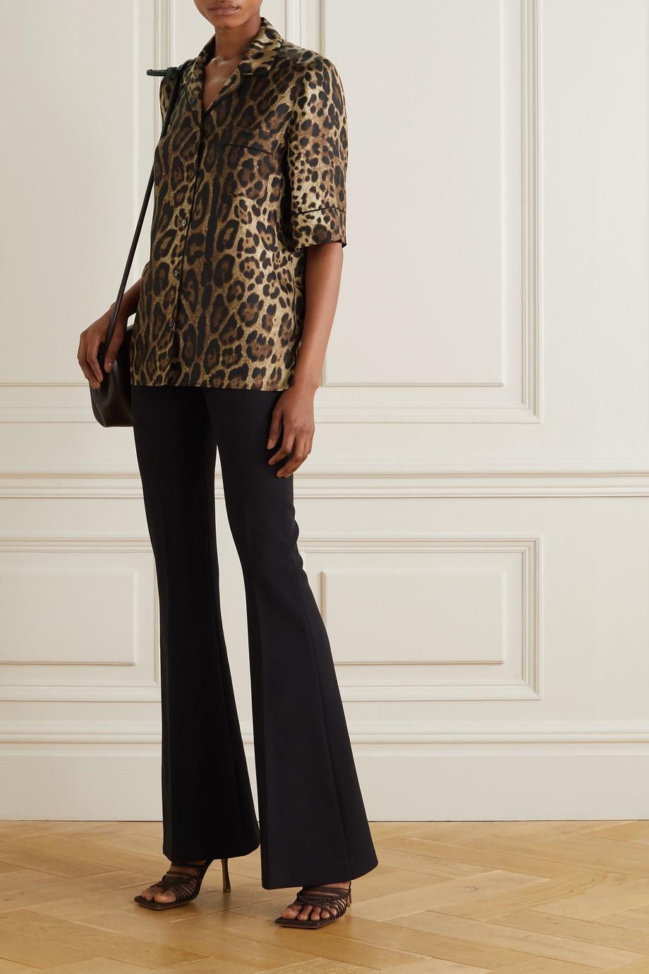 Dolce & Gabbana Chemise en serge de soie à imprimé léopard Diva