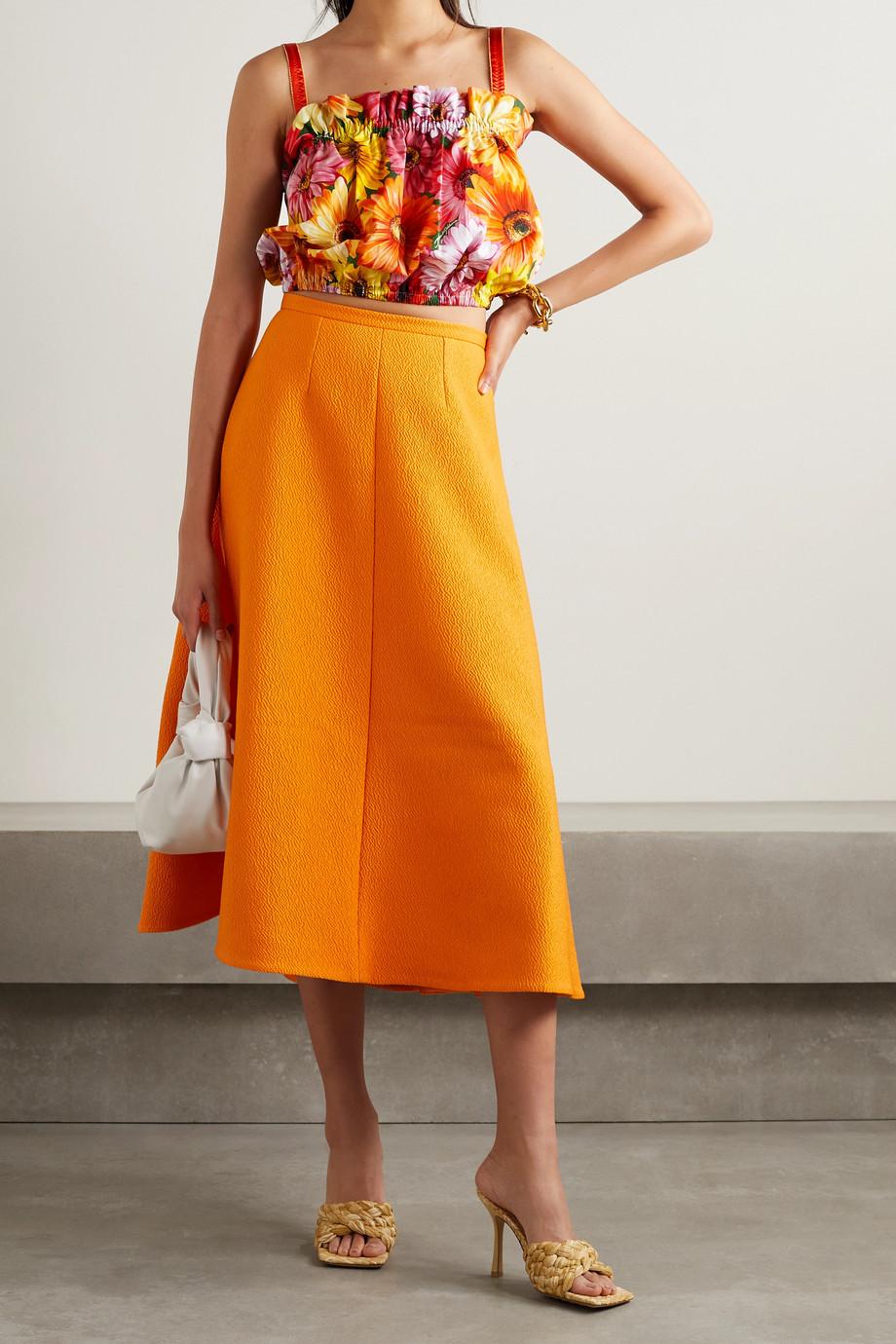 Dolce & Gabbana Haut raccourci en popeline de coton et de soie mélangés à imprimé fleuri et à finitions en satin