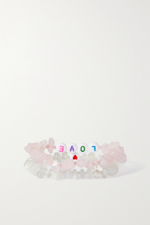 TBalance Crystals Set of two moonstone, rose quartz and enamel bracelets