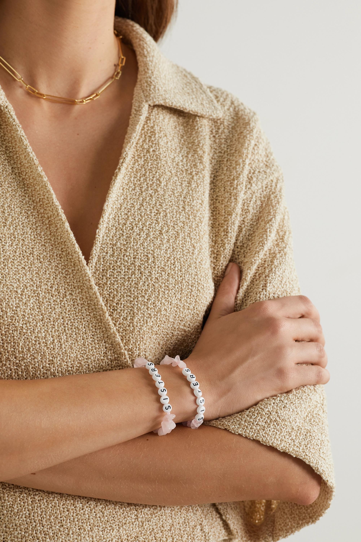 TBalance Crystals Set of two rose quartz and enamel bracelets
