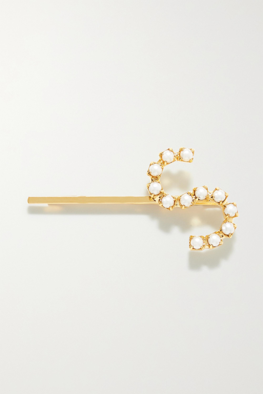 LELET NY Gold-tone faux pearl hair slide