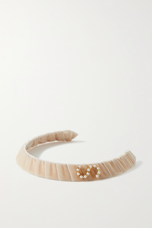 LELET NY Faux pearl-embellished gold-tone and velvet headband