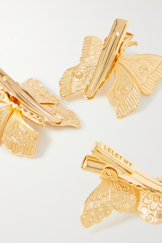 LELET NY Set of three gold-tone hair clips