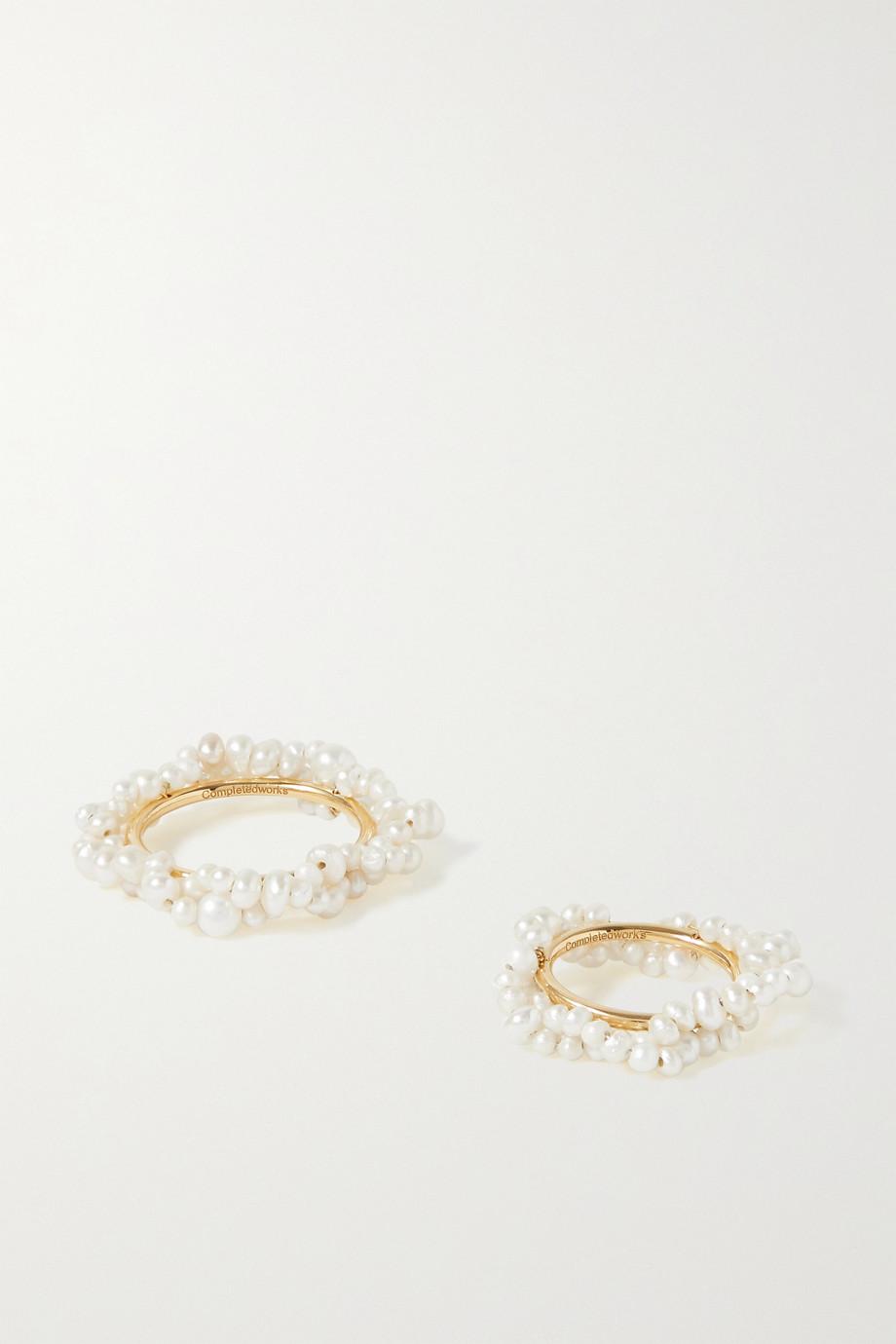 Completedworks Lot de deux bagues en vermeil et perles