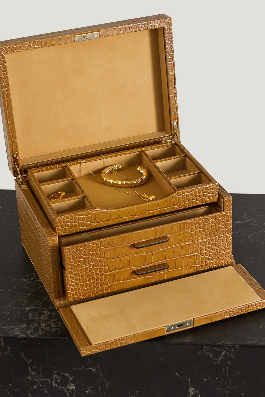 Smythson Mara croc-effect leather jewellery box