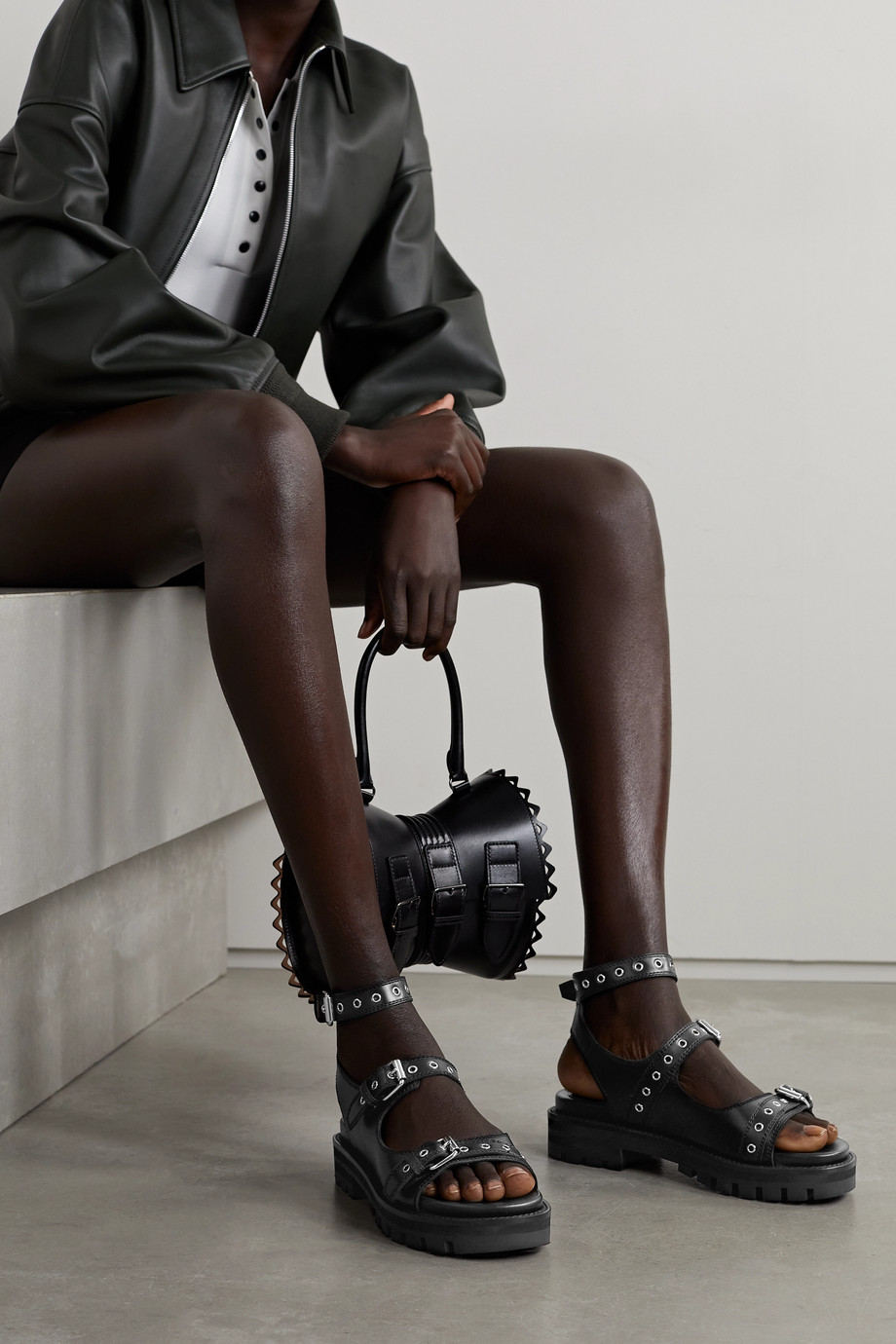 Alaïa 30 buckled leather sandals