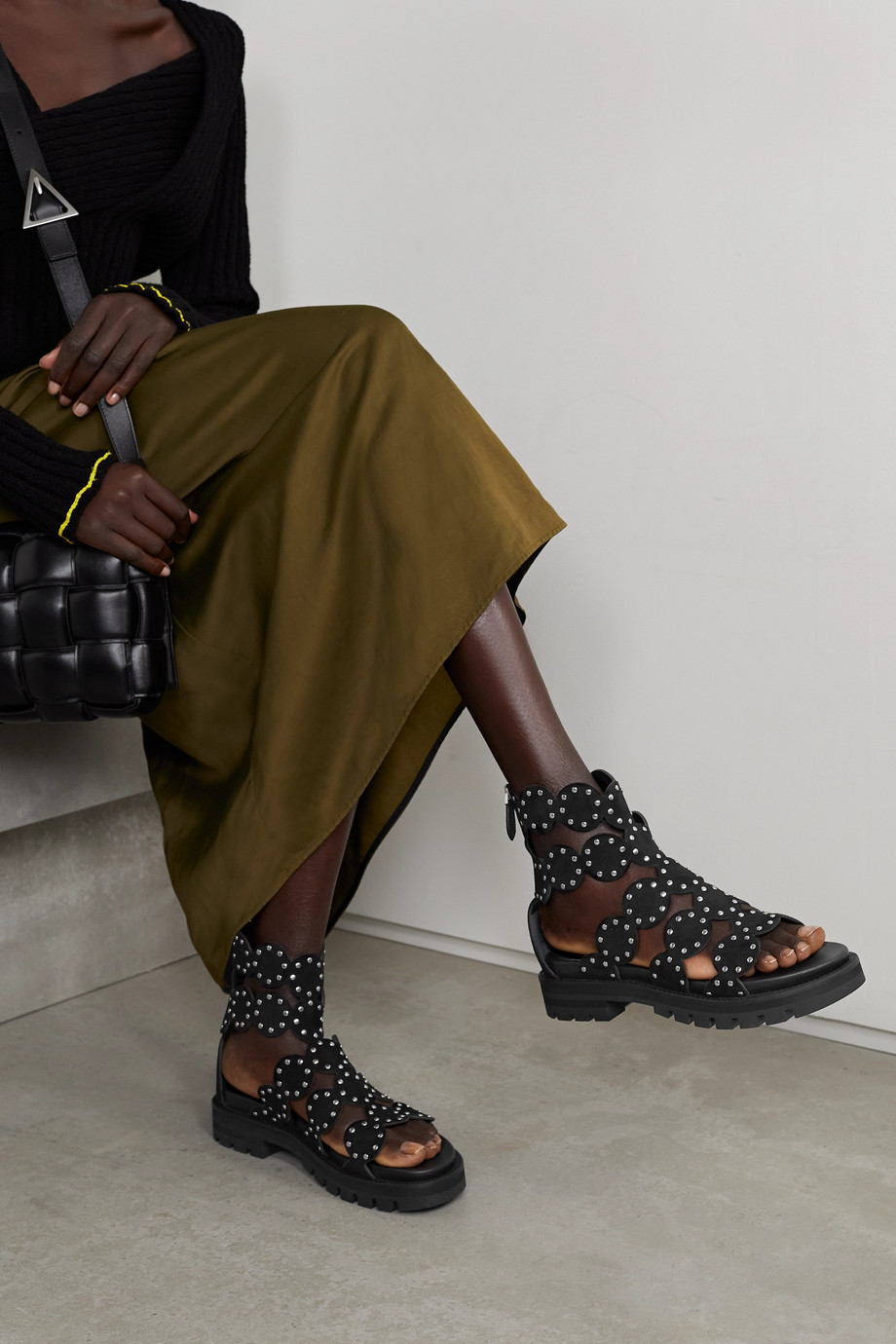 Alaïa 35 studded suede sandals