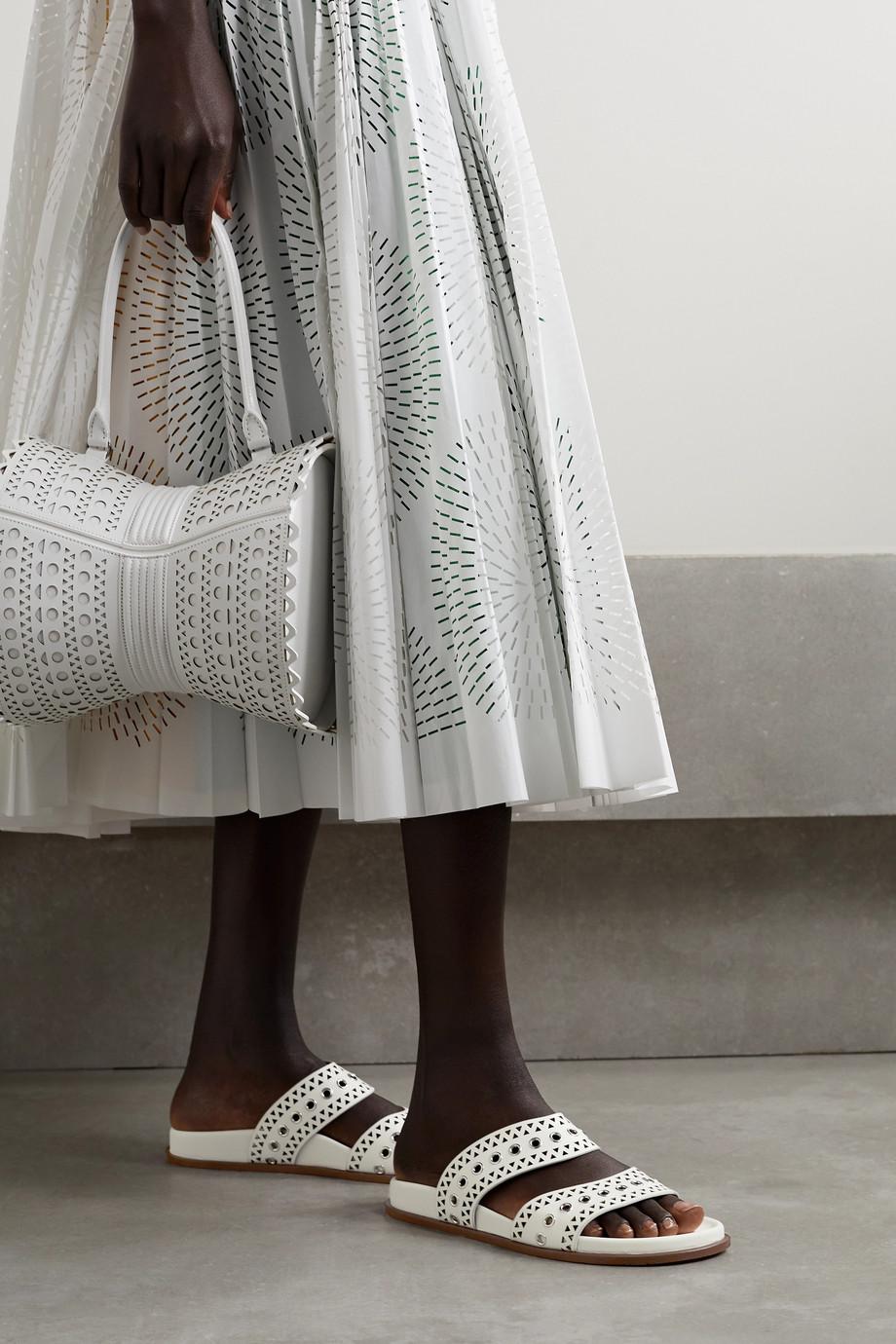 Alaïa Eyelet-embellished laser-cut leather slides