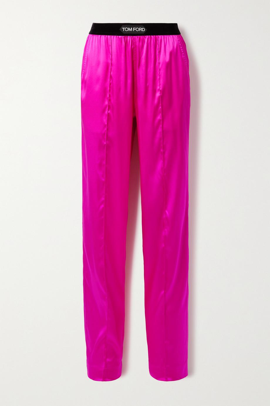 TOM FORD Pantalon en satin de soie stretch à finitions en velours