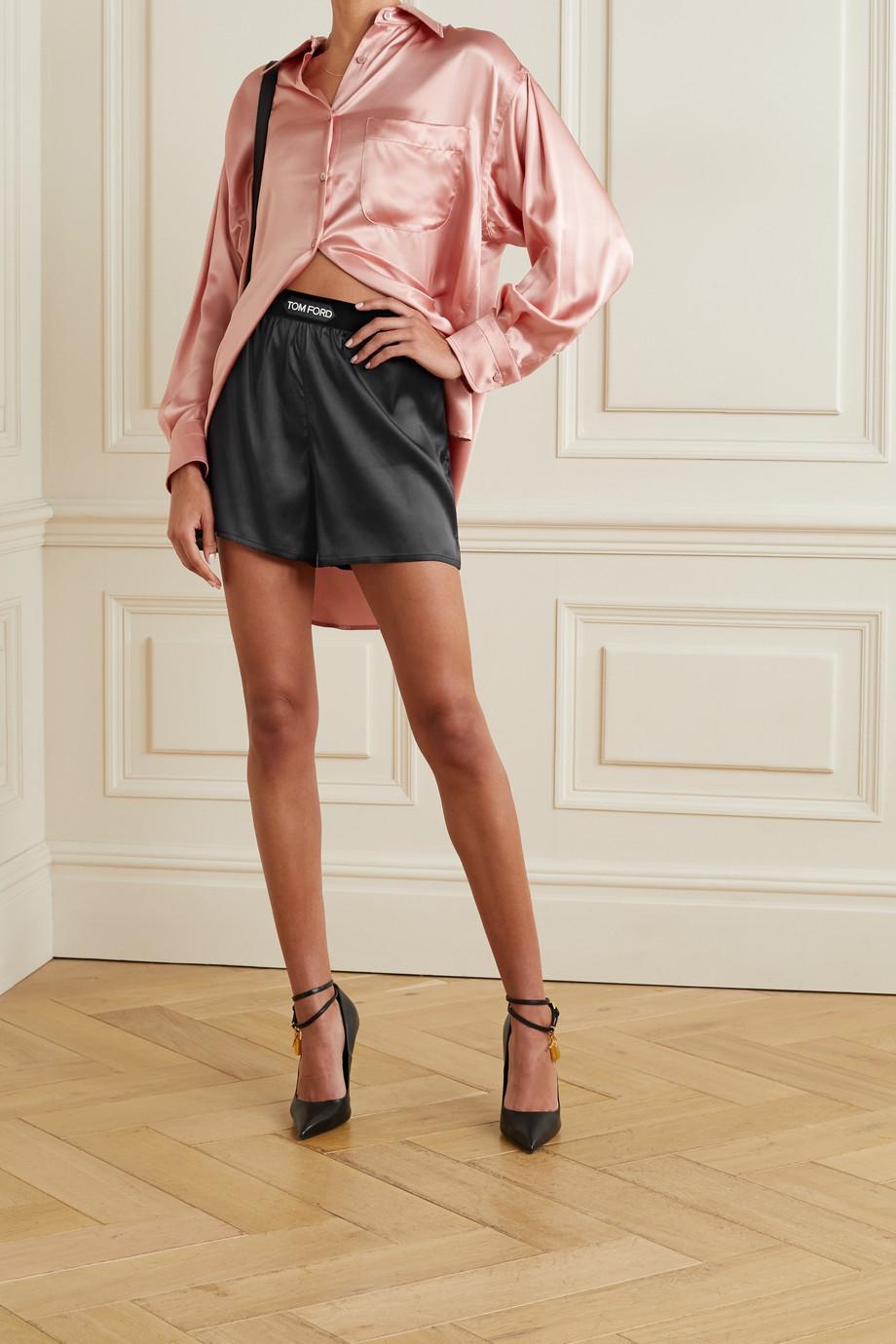 TOM FORD Velvet-trimmed silk-blend satin shorts