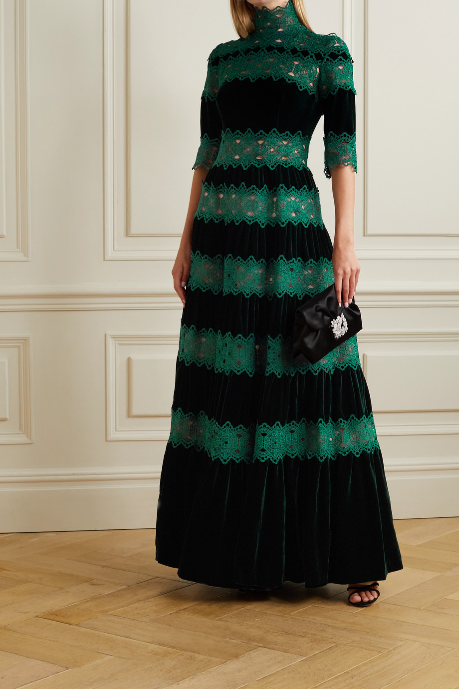 Costarellos Lissie paneled velvet and guipure lace gown