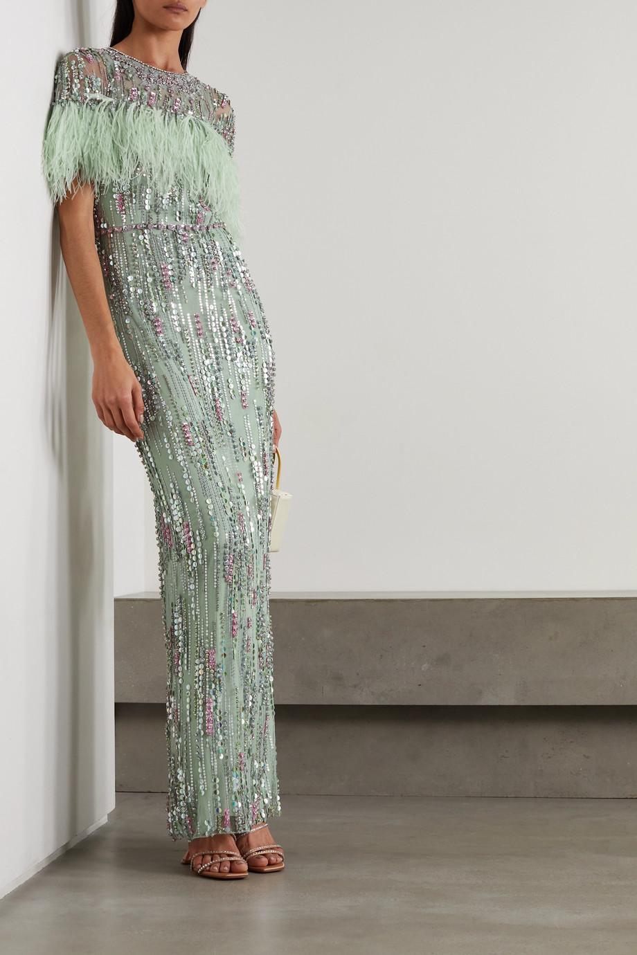 Jenny Packham Marlene feather-trimmed embellished tulle gown