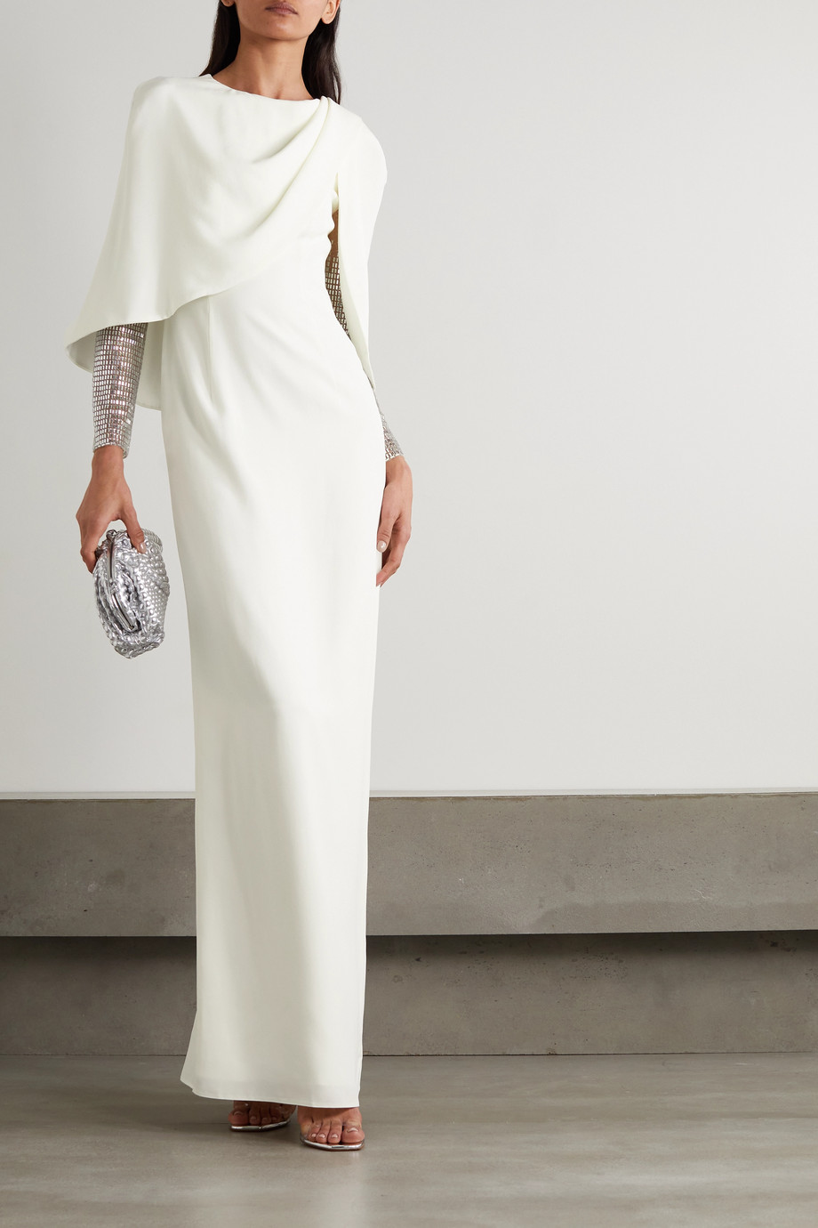 Jenny Packham Ursula cape-effect crepe and embellished tulle gown