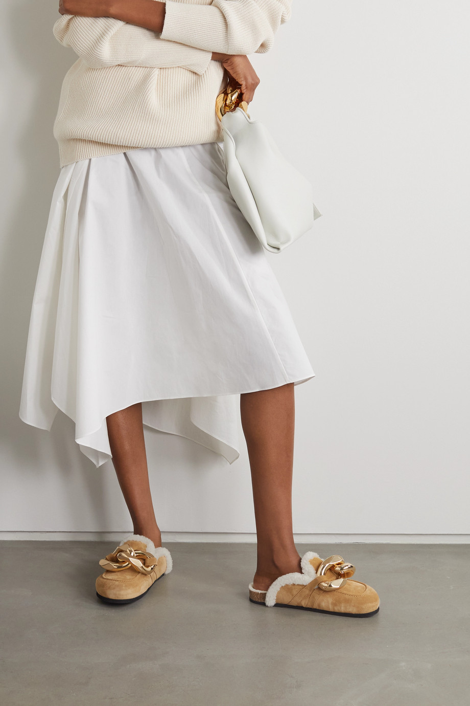 JW Anderson Chain-embellished shearling-lined suede slippers
