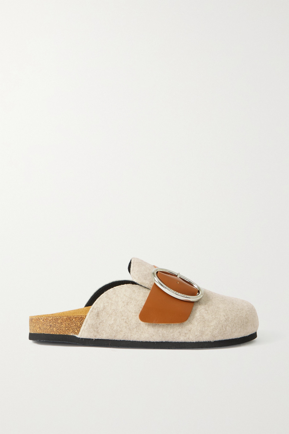 JW Anderson Buckled leather-trimmed felt slippers