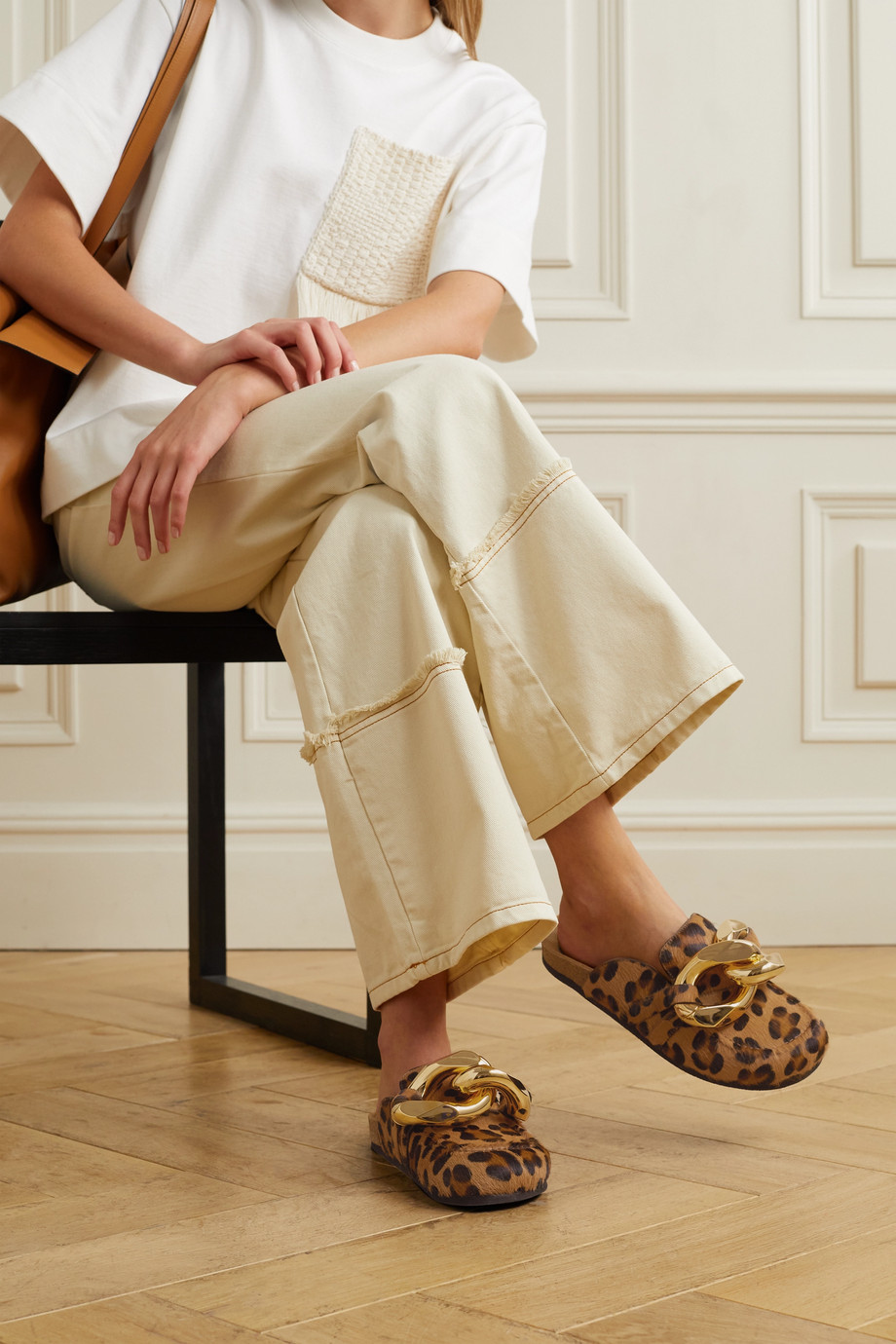 JW Anderson Chain-embellished leopard-print calf hair slippers