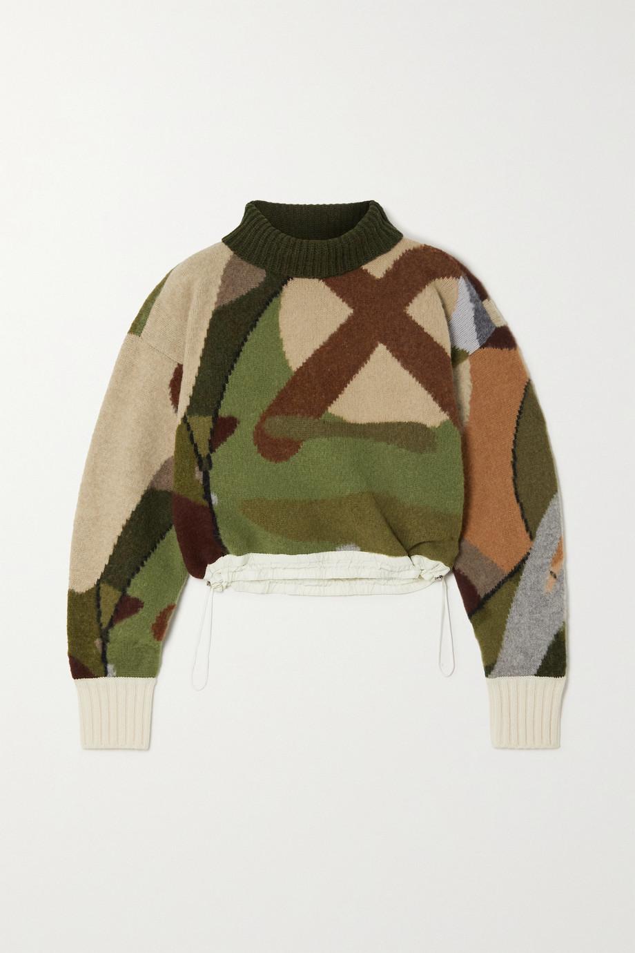 Sacai Pull raccourci à col roulé en laine jacquard à finitions en tissu technique x KAWS