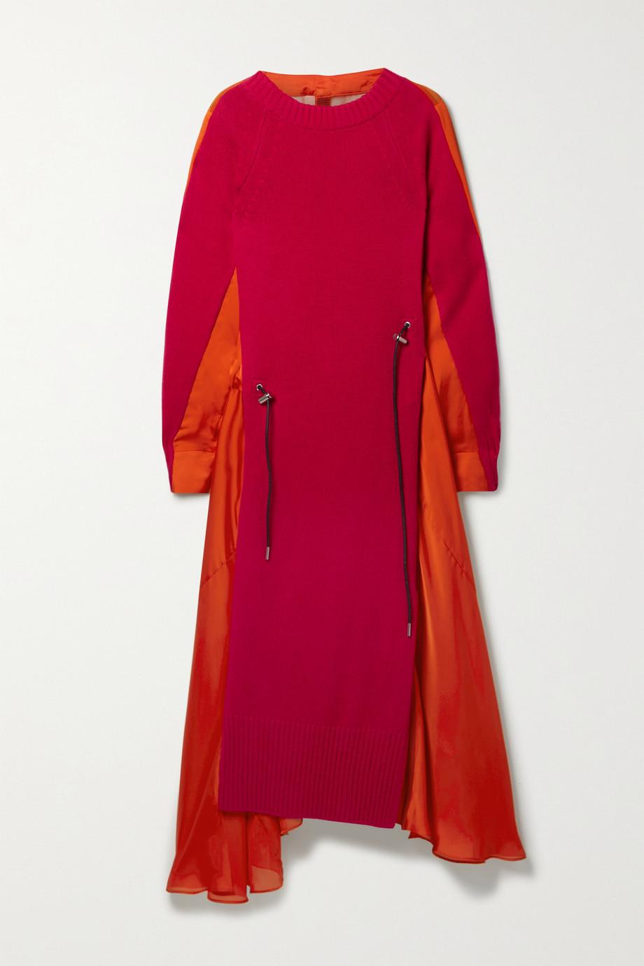 Sacai Asymmetric paneled wool, satin and chiffon dress
