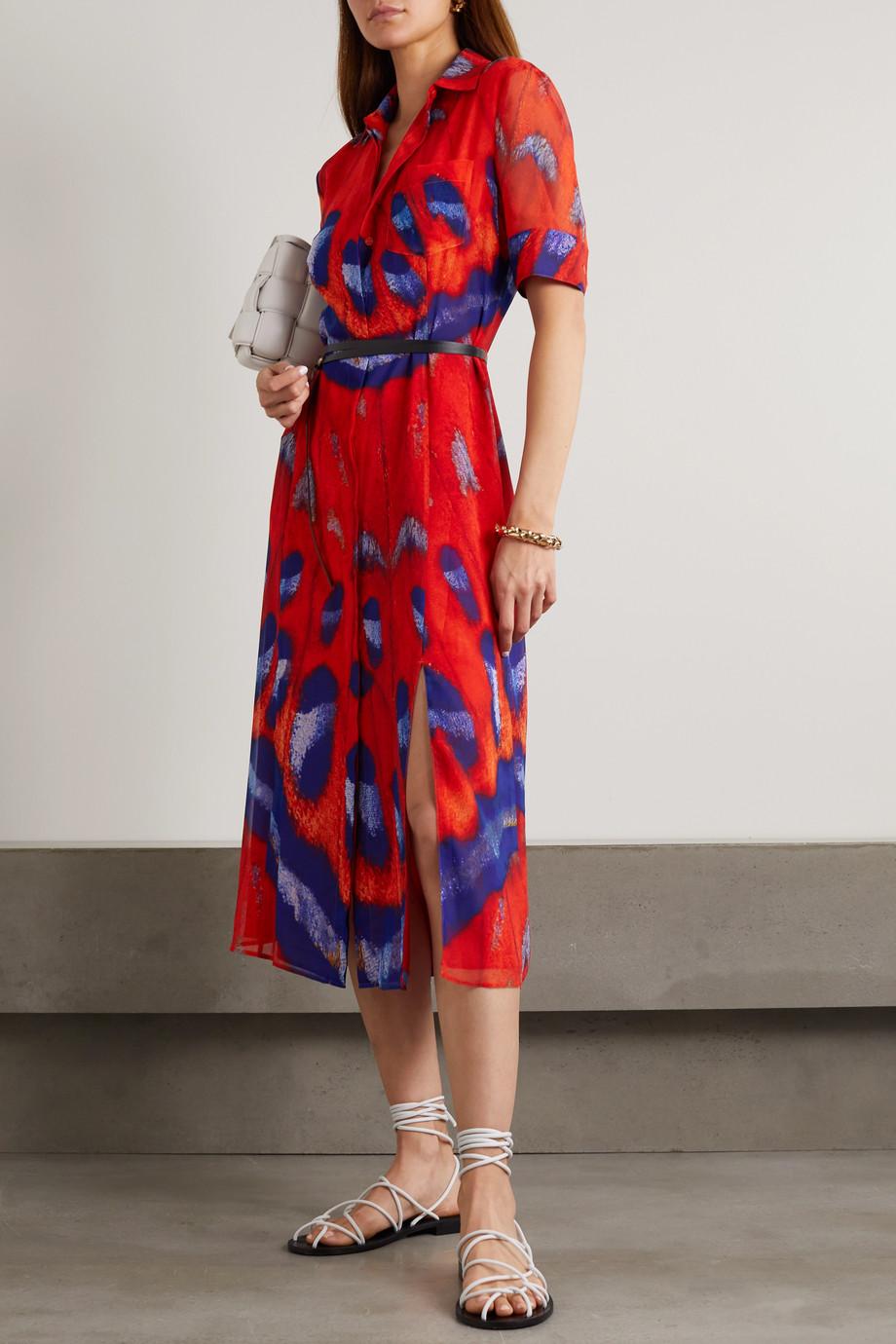 Altuzarra Kieran belted printed crepe de chine shirt dress