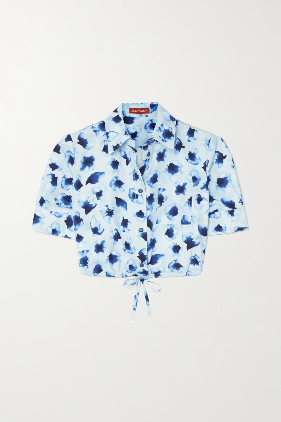 Altuzarra Ben verkürztes Hemd aus Baumwollpopeline mit Blumenprint