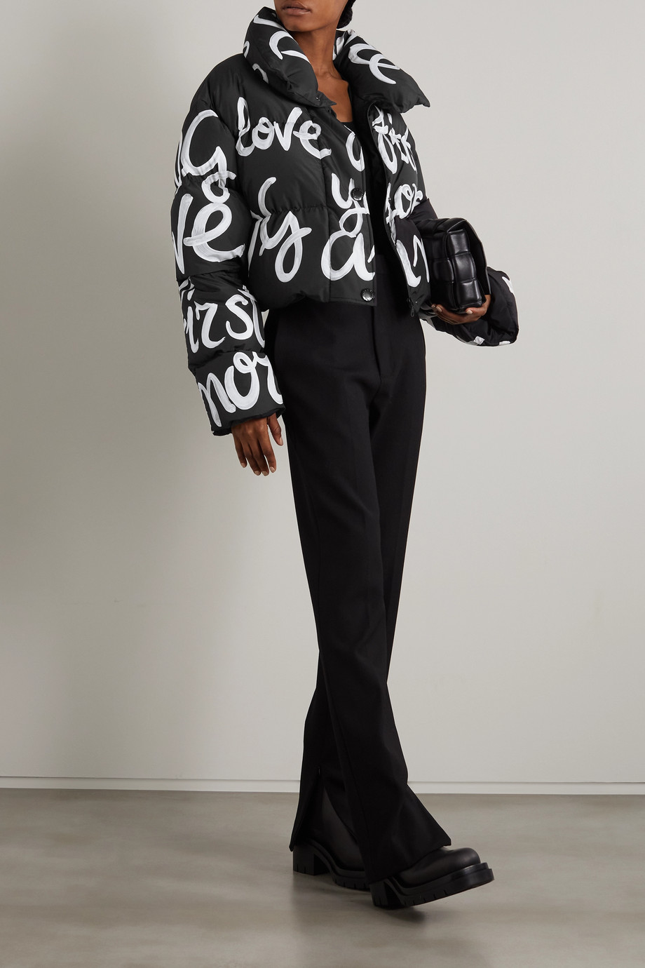 Dolce & Gabbana Doudoune raccourcie en tissu technique imprimé