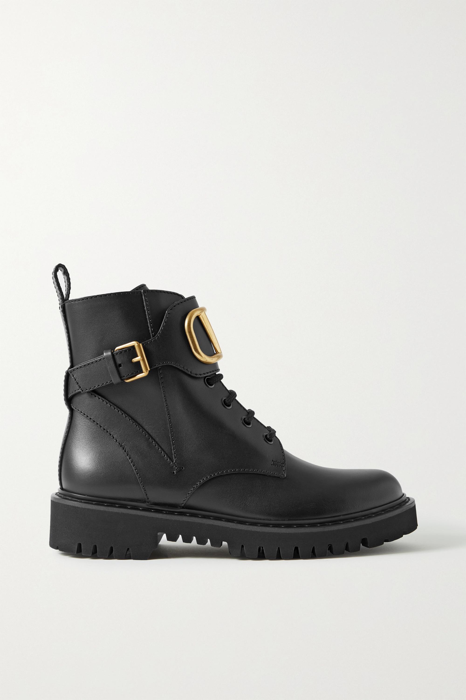 Valentino - Valentino Garavani Go Logo embellished leather ankle boots