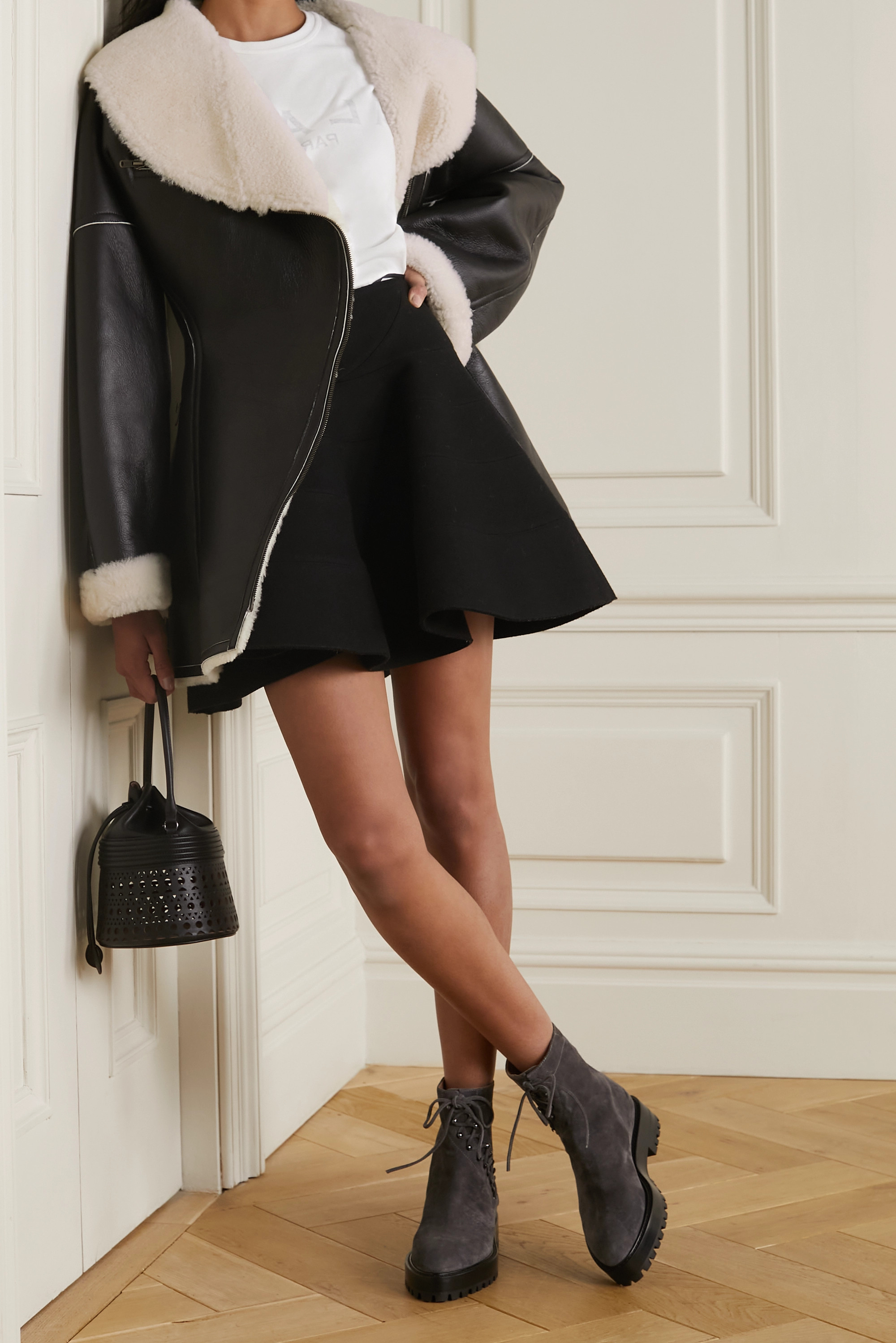 Alaïa Editions shearling-lined leather coat