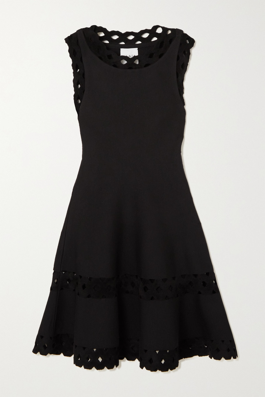 Alaïa Mini-robe en laine mélangée à finitions en velours découpé au laser Editions