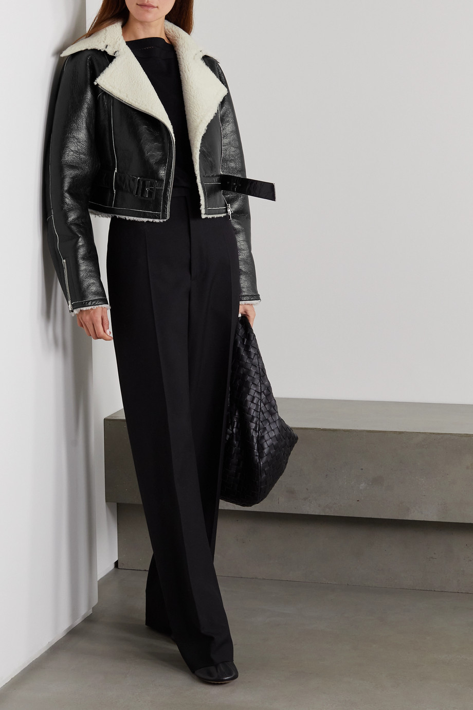 Alaïa Shearling-lined crinkled glossed-leather biker jacket