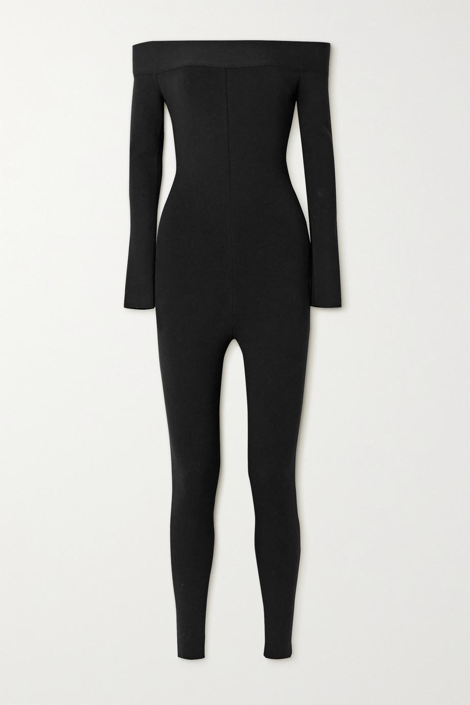 Alaïa Combi-pantalon épaules nues en mailles stretch
