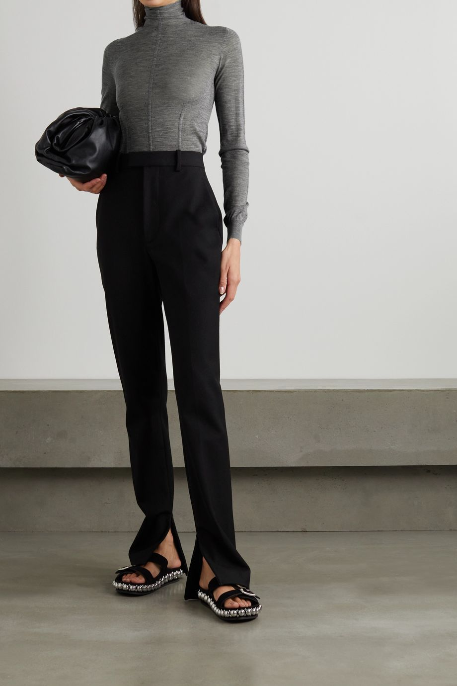 Alaïa Pointelle-trimmed cashmere-blend sweater