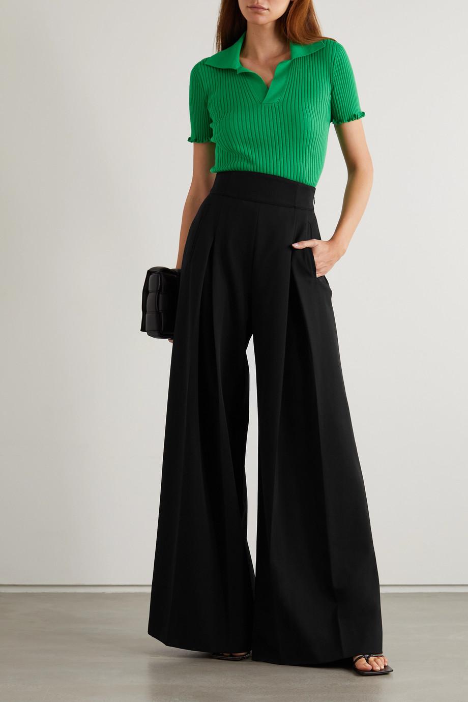 Alaïa Pantalon large en laine à plis