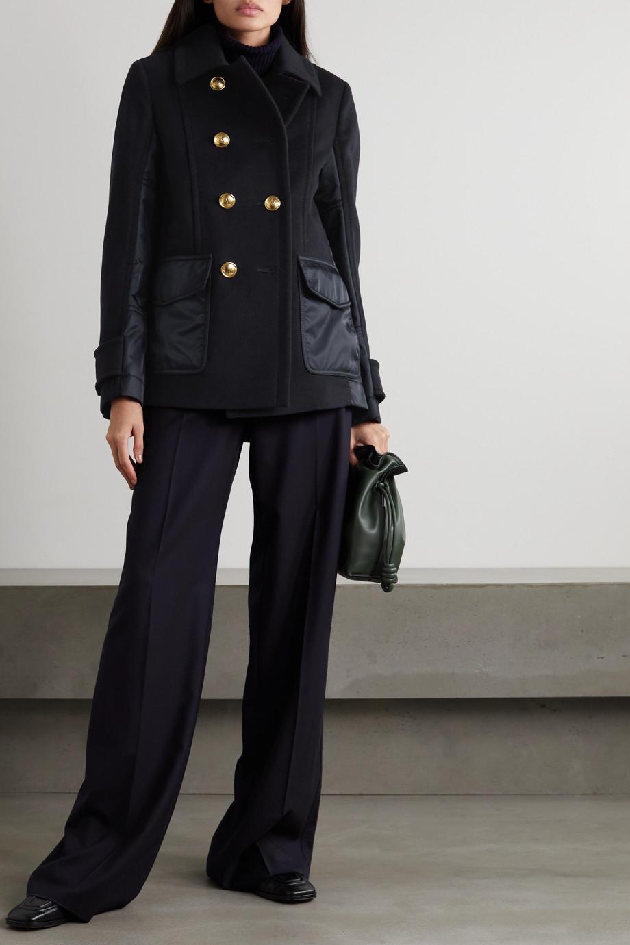 Valentino Veste à double boutonnage en laine et cachemire mélangés et en tissu technique