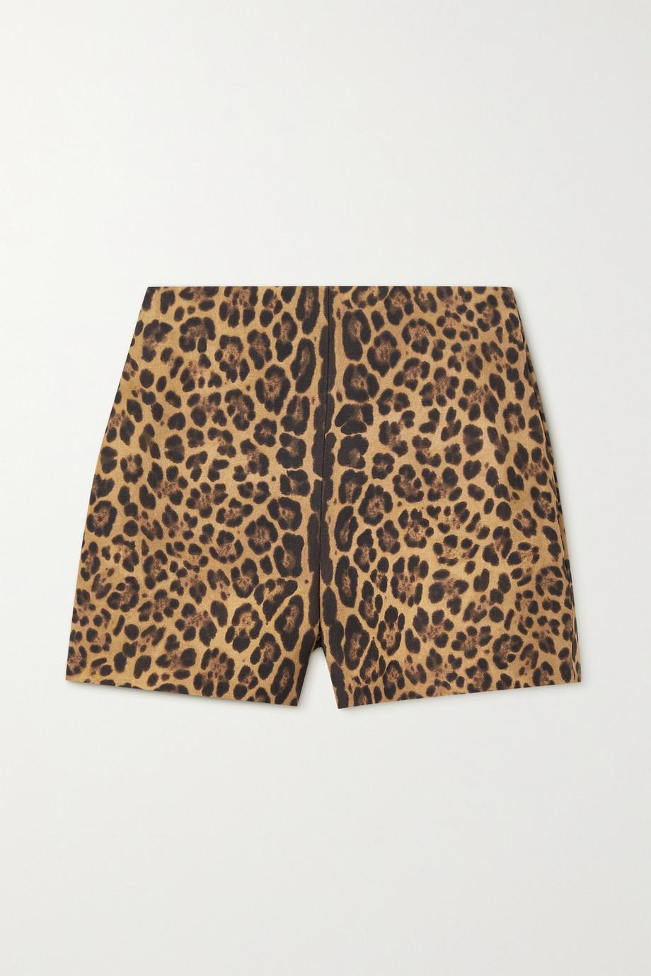 Valentino Shorts aus einer Woll-Seidenmischung mit Leopardenprint
