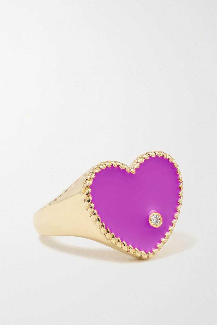 Yvonne Léon Ring aus 9 Karat Gold mit Emaille und Diamant