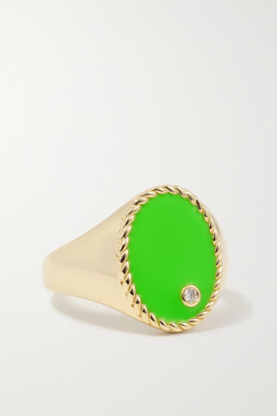 Yvonne Léon Chevalière en or 9 carats, émail et diamant