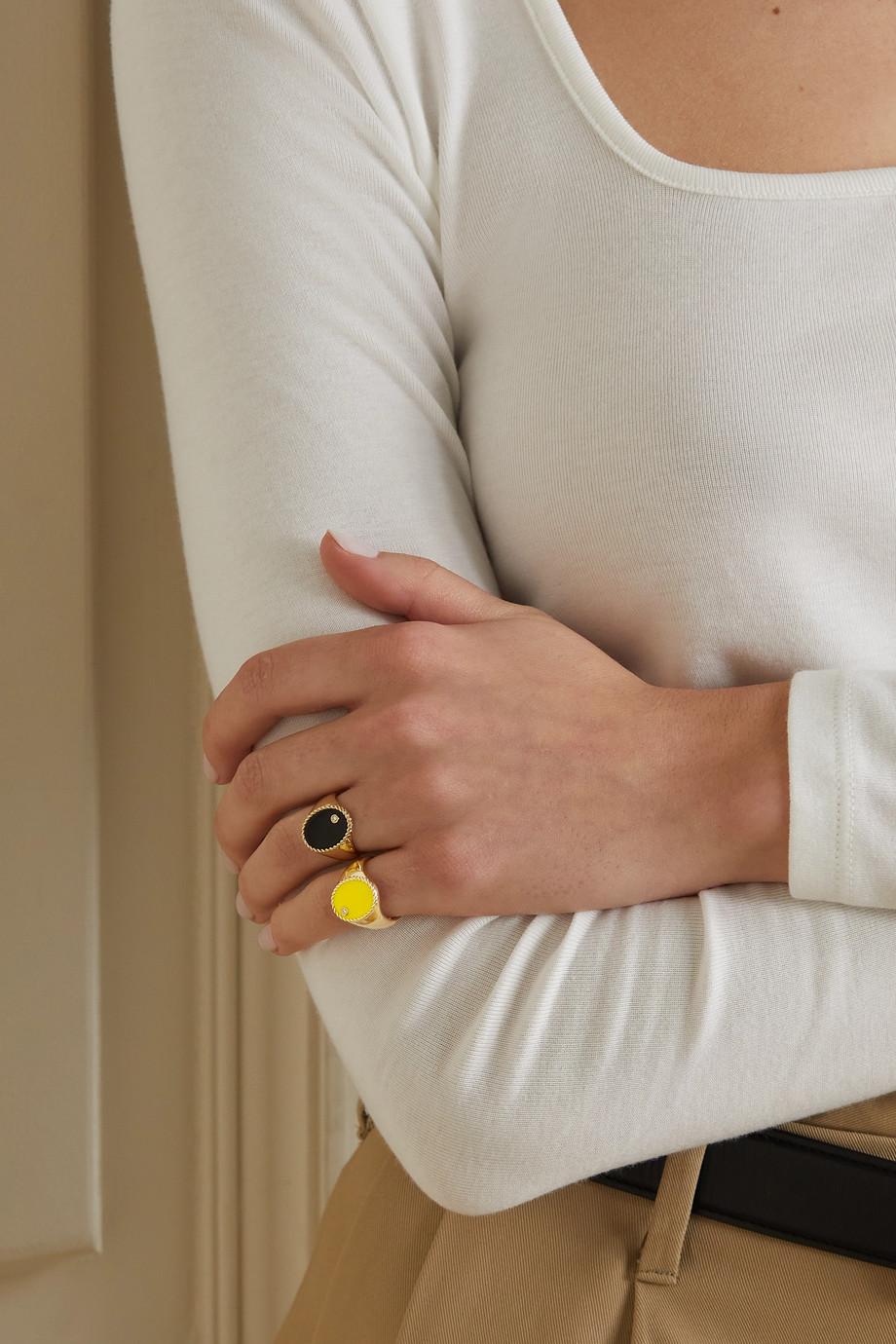 Yvonne Léon 9-karat gold, enamel and diamond signet ring