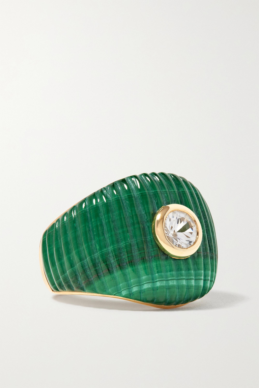 Yvonne Léon - 9-karat gold, malachite and topaz ring