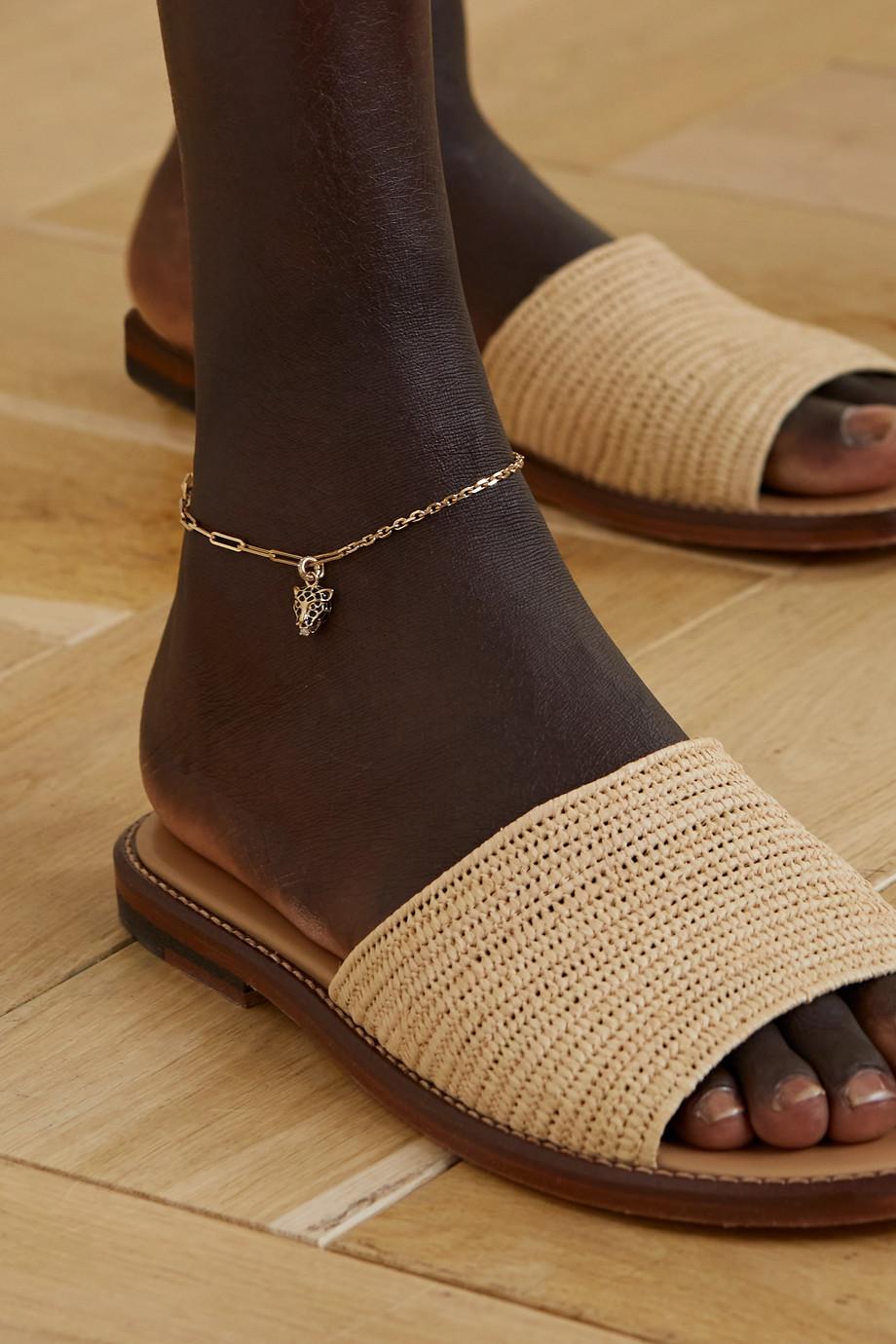 Yvonne Léon 18-karat gold, enamel, spinel and diamond anklet