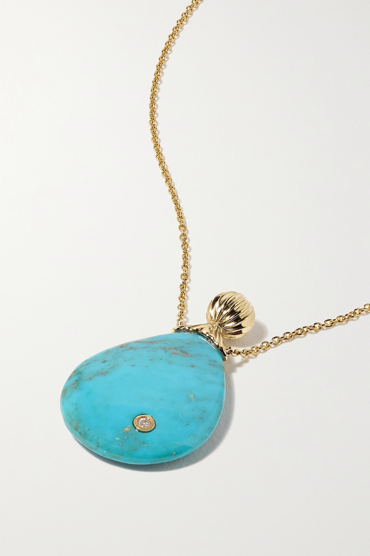 Yvonne Léon - 9-karat gold, turquoise and diamond necklace