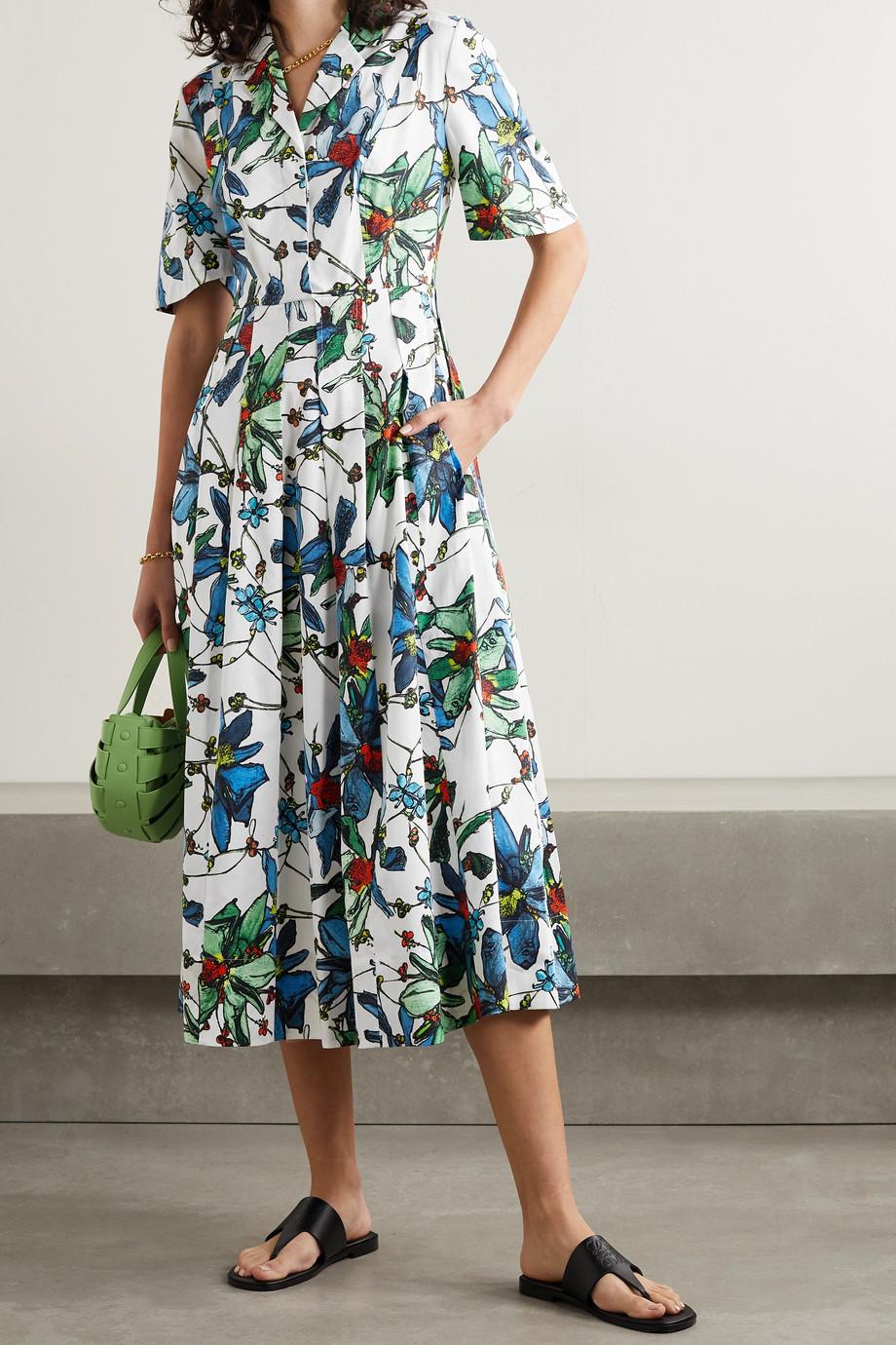 Jason Wu Collection Midi-Hemdblusenkleid aus Baumwollpopeline mit Blumenprint und Falten