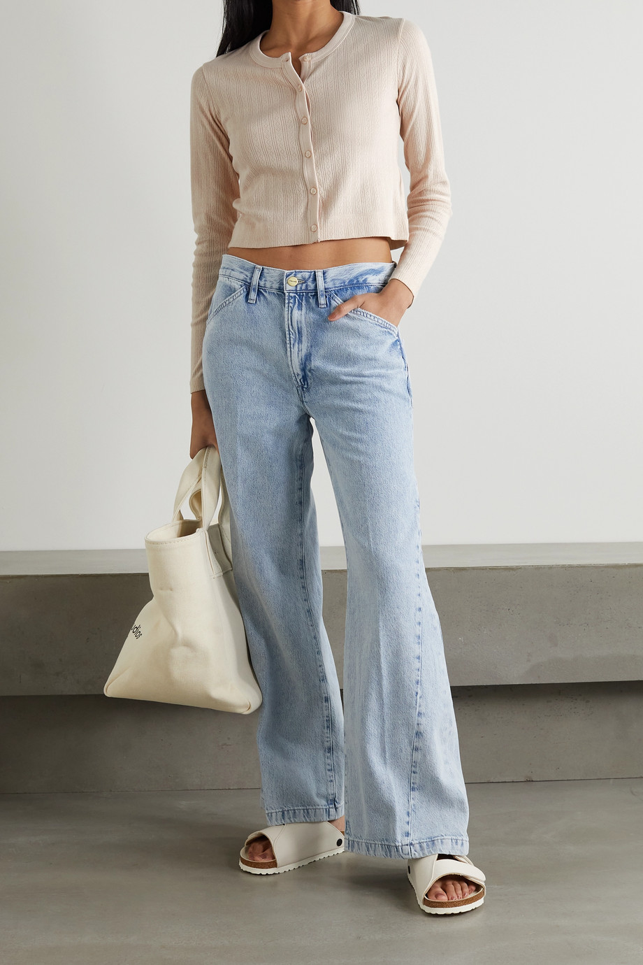 Ninety Percent + NET SUSTAIN pointelle-knit organic cotton cardigan