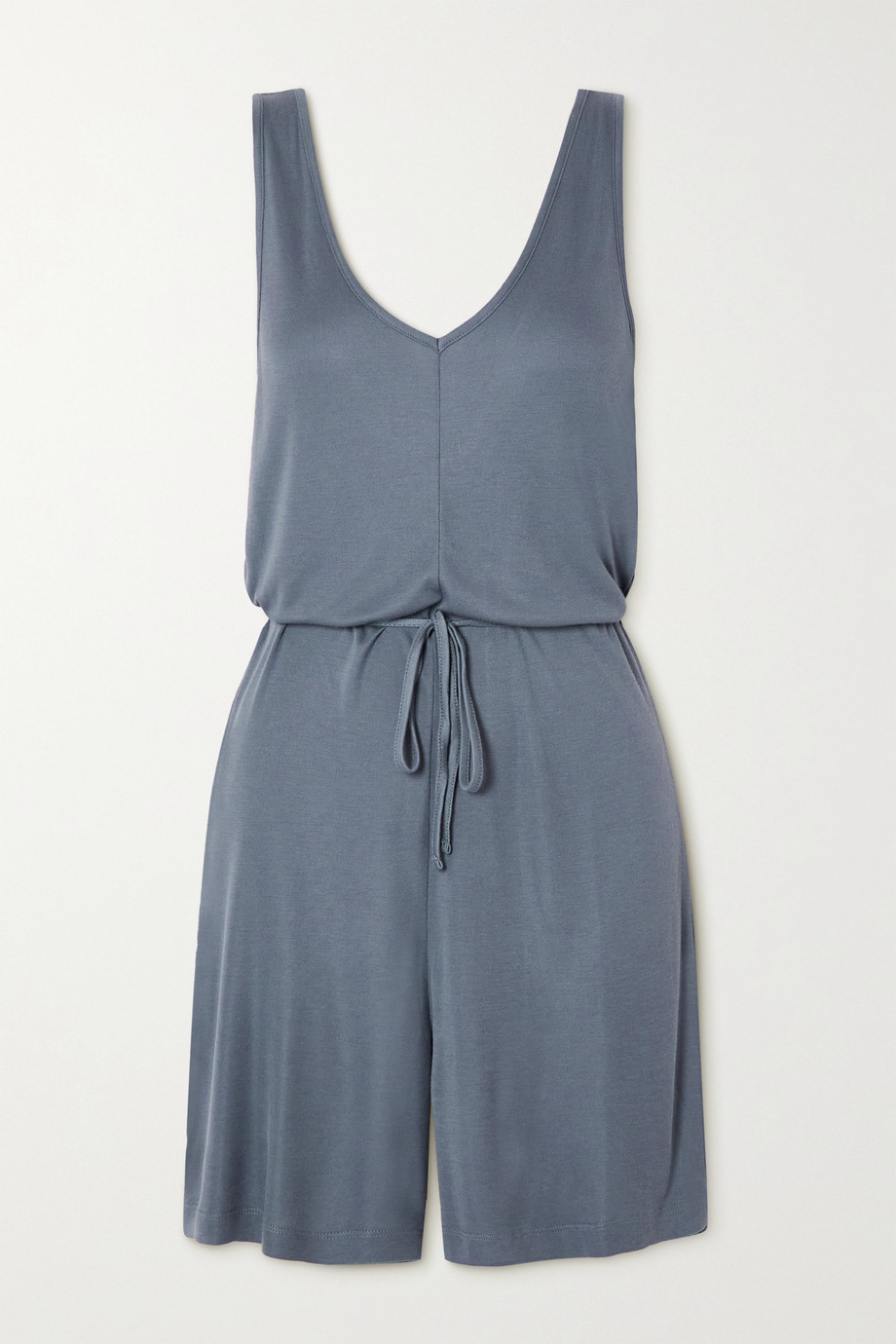 Ninety Percent + NET SUSTAIN belted ECOVERO-jersey playsuit