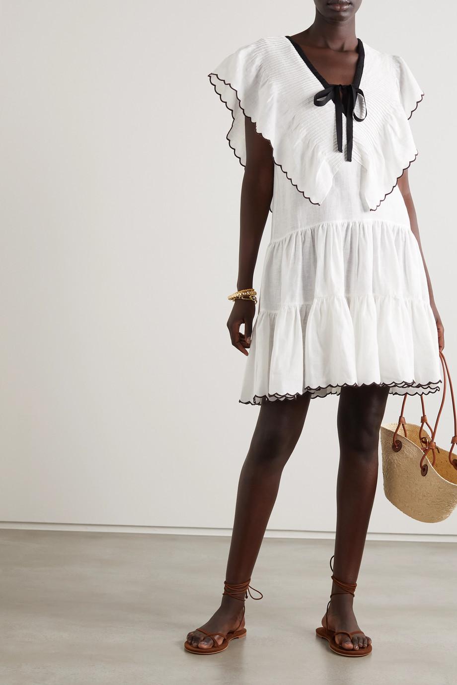 Lug Von Siga Cora Minikleid aus Leinen mit Stickereien zum Binden
